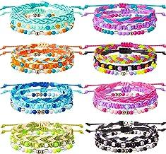 VSCO Bracelets 24 Pieces Braided Stretch Friendship Bracelets Stackable Bead Woven String Bracelets Adjustable Wave Rope B...