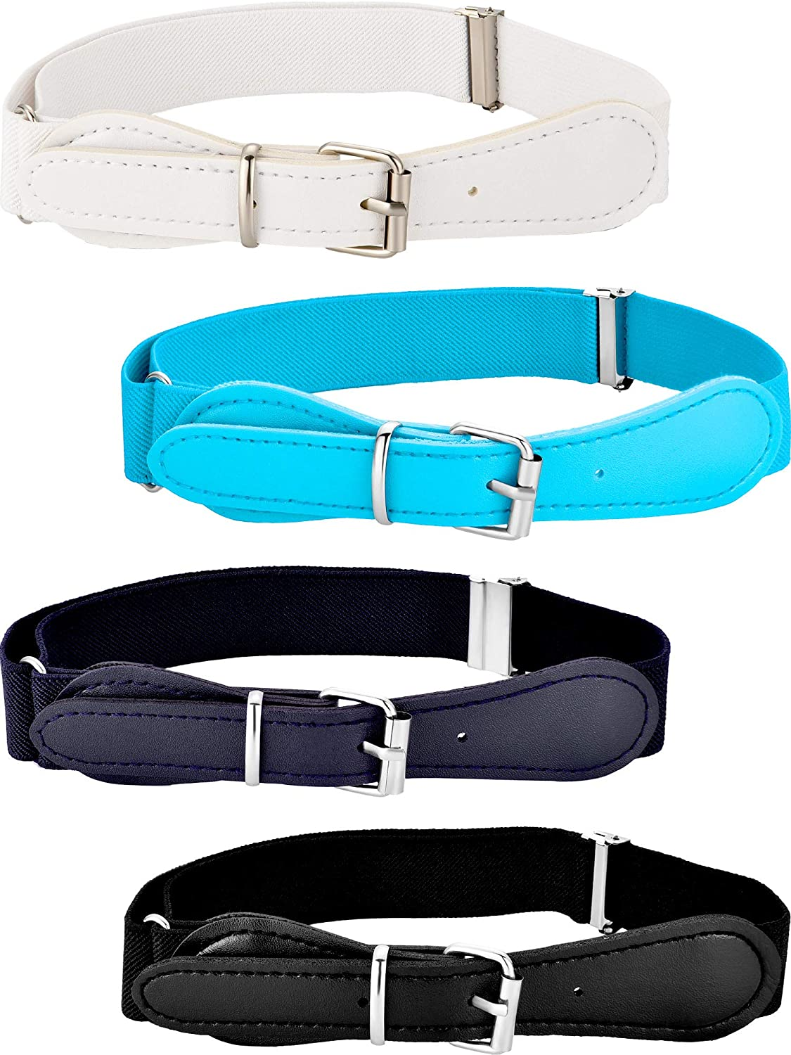 Tatuo 4 Pieces Kids Adjustable Elastic Belt with Leather Closure for Girls and Boys, Assorted Color