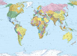 Brewster 4-050 World Map 4 Panel Mural with Paste, 8-Foot 10-Inch by 6-Foot 2-Inch