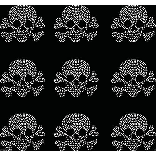 Clear 9x Small Filled Skull Iron On Rhinestone Transfer Crystal t-shirt  applique db4c7a034709