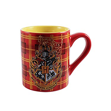 Silver Buffalo HP0532 Harry Potter 1-8 Hogwarts Crest on Plaid Ceramic Mug 14 oz, Multicolor