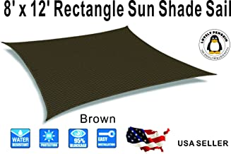 lovely penguin 8' x 12' Brown Color Rectangle Sun Shade Sail, UV Block for Outdoor Facility and Activities