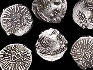 Ancient Indian SILVER DRACHM COIN from Rudrasena III (Western Satraps or Kshaharates) - You get ONE Authentic Ancient Coin from 385-415 AD from INDIA - Genuine Antique Drachm in Very Good to Fine Condition