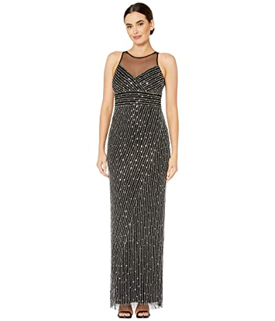 Adrianna Papell Beaded Halter Gown with Illusion Yoke (Black/Silver) Women