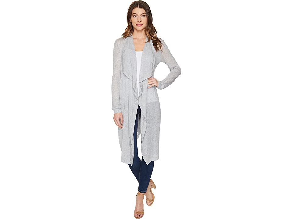 Three Dots Melange Drape Front Cardigan (Granite) Women
