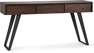 Simpli Home AXCLRY-03 Lowry Solid Acacia Wood and Metal 60 inch Wide Modern Industrial Console Sofa Table in Distressed Charcoal Brown