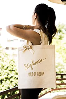 960f8e1ee1 Bridesmaid Tote Bag Gold Canvas Bag Personalized Bridal Party Bags  Bridesmaid Gift