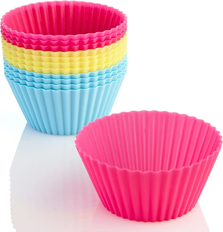 OvenArt Silicone Bakeware Silicone Baking Cups Cupcake Liners Set Of 12 Bright Pink Yellow Blue