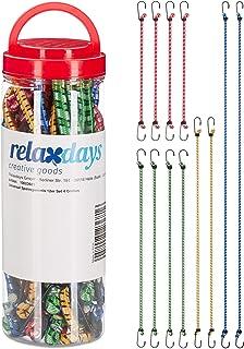 Relaxdays, Multicolor spanrubber set van 12, bagagespanner voor auto en fiets, universele expander, 35 cm tot 1 m, 4 maten
