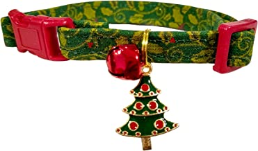 SunflowerBees Christmas Tree Holiday Cat Collar with Charm and Bell Breakaway for Safety