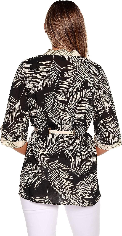 Belldini Women's Chiffon Contract Palm Print Kimono