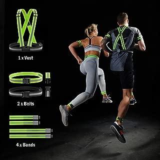 Reflective Running Gear Safety Vest - 7 Pack Superset High Visibility Reflective Belt, Bands, Strap for Men, Women & Kids - Hi Vis Bag, Night Bike Cycling