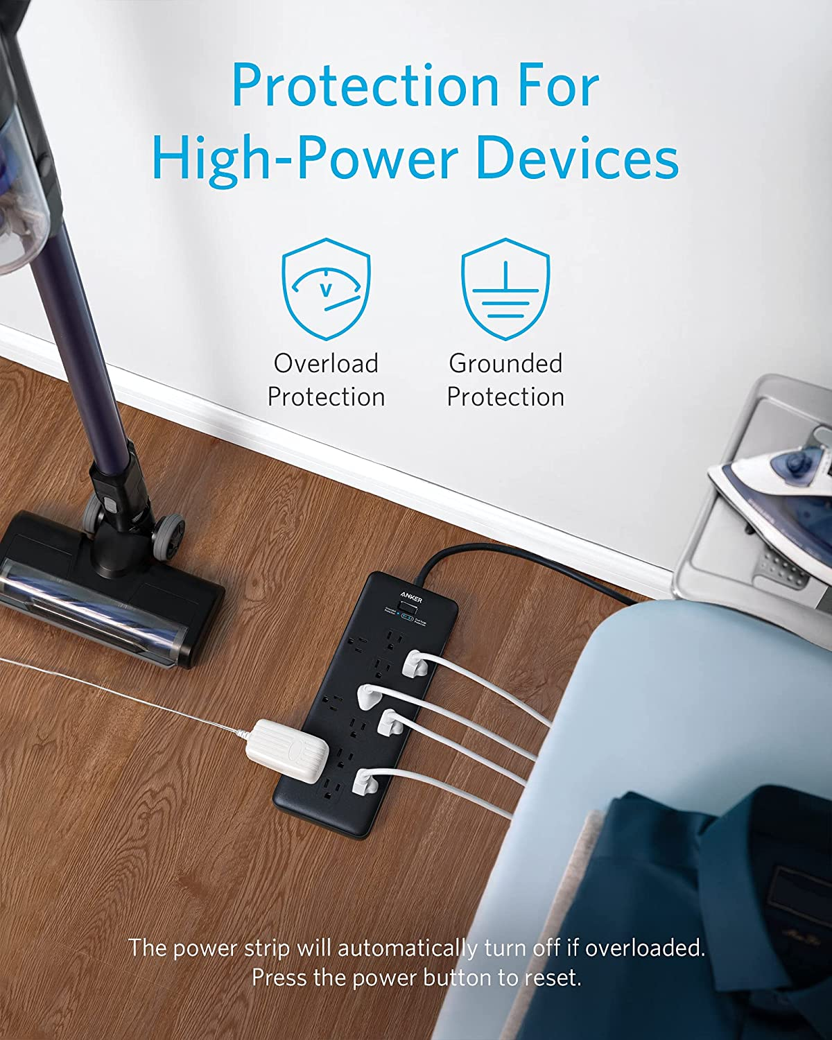 Anker Power Strip Surge Protector (2 × 4000 Joules), PowerExtend Strip 12 Outlets with Flat Plug, 1875W Output, 6ft Extension Cord, Dual Surge Protection for Office, Home