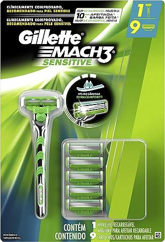 Aparelho de Barbear Gillette Mach3 Sensitive + 9 Cargas