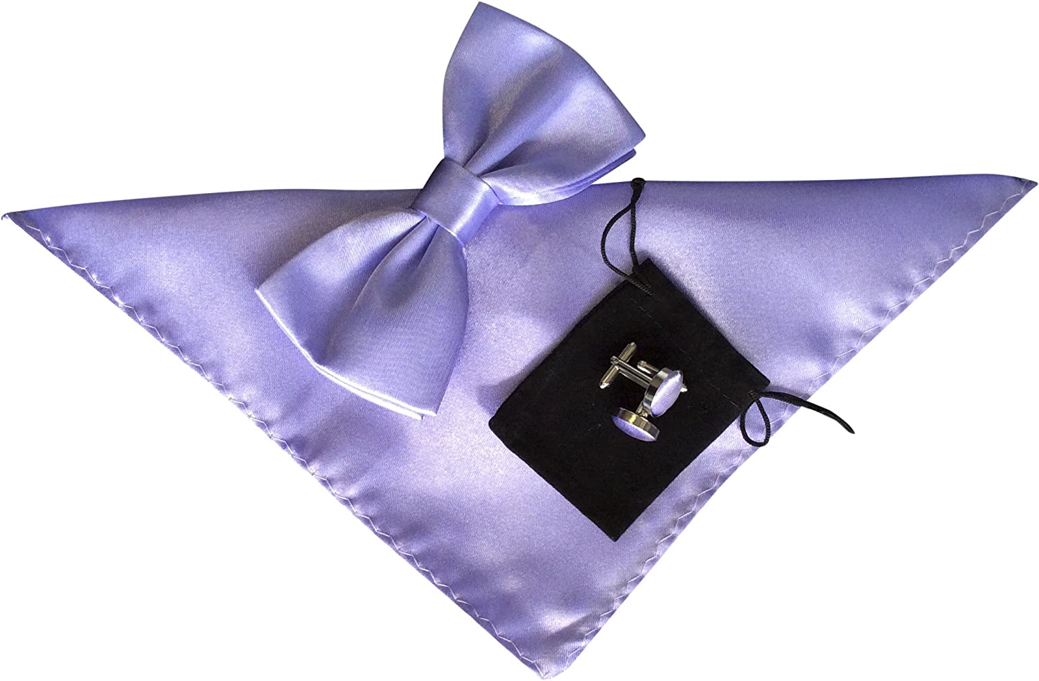 Mens Bow Tie Handkerchief and Cuff links Set Plain Pale Lilac No42