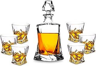 Kanars Premium Crystal Whiskey Dekanter Set, handgefertigt, Likör-Dekanter mit 6 altmodischen Gläsern für Scotch, Bourbon oder Whisky, einzigartige elegante Geschenkbox, 7-teilig