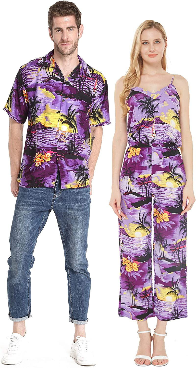 Couple Matching Hawaiian Luau Shirt Hibiscus Max 63% OFF wholesale Blue in Jumpsuit