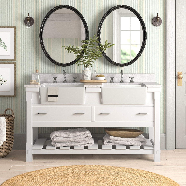 Amazon Com Charlotte 60 Inch Double Bathroom Vanity Quartz White Includes White Cabinet With Stunning Quartz Countertop And White Ceramic Farmhouse Apron Sinks Everything Else