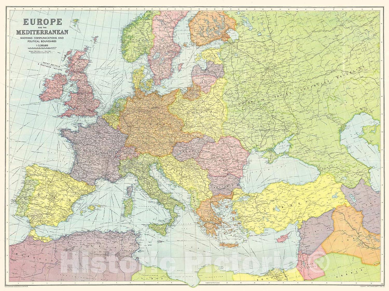 map of europe 1939 Amazon.com: Historic Pictoric Map : Europe 1939 2, Bartholomew's