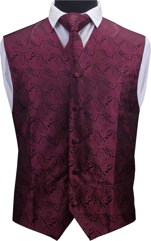 GUSLESON 3pc Mens Paisley Vest Necktie Pocket Square Set Waistcoat for Suit or Tuxedo