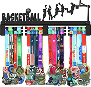 GENOVESE Basketball Medal Holder Display Hanger Rack,Super Sturdy Black Steel Metal,Wall Mounted Over 70 Medals Easy to Install
