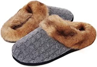 Ladies Slipper House Memory Foam Knitted Slippers Comfort and Warm Slippers for Mens and Womens Indoor Non-Slip Plush Slip...