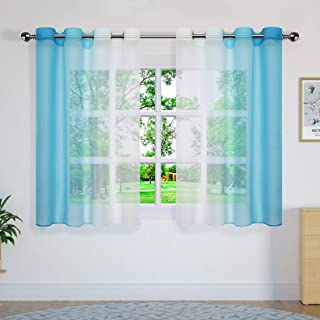 Yao Yue Drapes and Curtains Colourful Lightweight Privacy Curtain for Bedroom,Grommet,Set of 2,132x160cm(52x63in),White an...