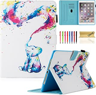 Dteck iPad 9.7 inch 2018 2017 Case/iPad Air Case/iPad Air 2 Case - Multi-Angle Viewing Auto Wake/Sleep Folio Smart Cover Stand Wallet Case for iPad 9.7 inch 2017/2018,iPad Air 1 2,Cute Elepant