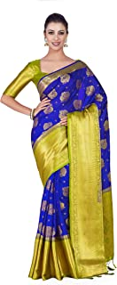 MIMOSA Women's Kanchipuram Silk Saree With Contrast Blouse (4306-352-2D-RBLU-OLV_Blue)