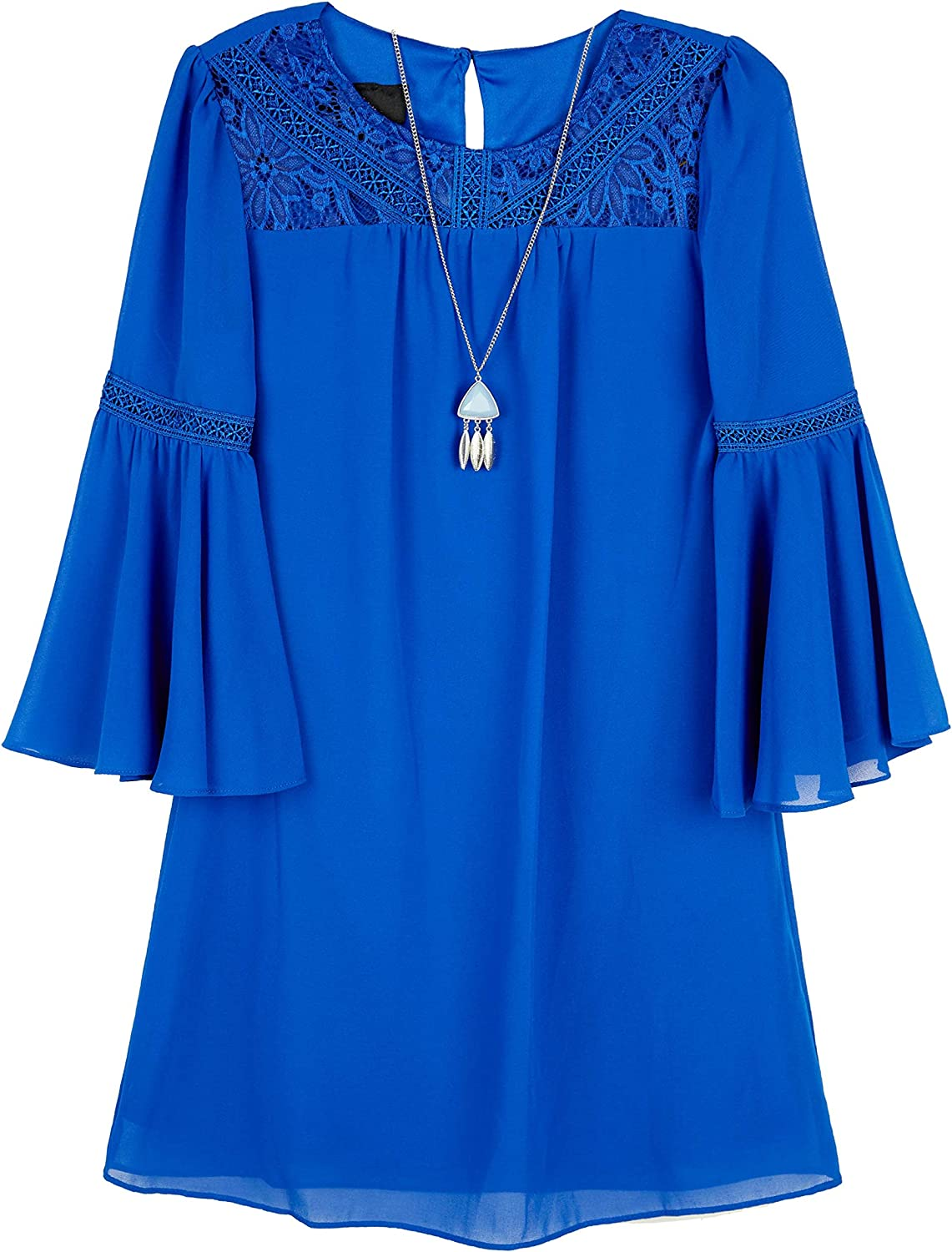 Amy Byer Girls' Bell Sleeve A-line Dress with Lace