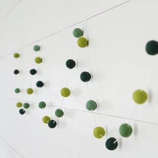 Decomod 100% Wool Felt Ball Garlands 9FT Long 35 Balls - Apple Greens Hunter Green Kelly Green