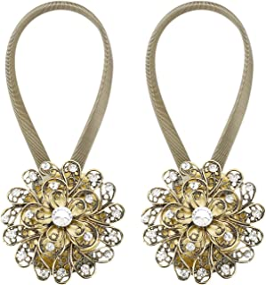Lewondr 1 Pair Sparkling Crystal Flower Curtain Tieback, Magnetic Drapery Holder Stretchy Curtain Buckle Clips Curtain Bind with Stainless Spring Wire - Bronze&Silver