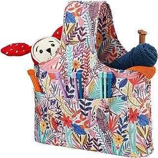 Fuyamp Sac à tricoter Organiseur de fil de rangement pour sac à tricoter, sac de voyage portable pour projet inachevé, aig...