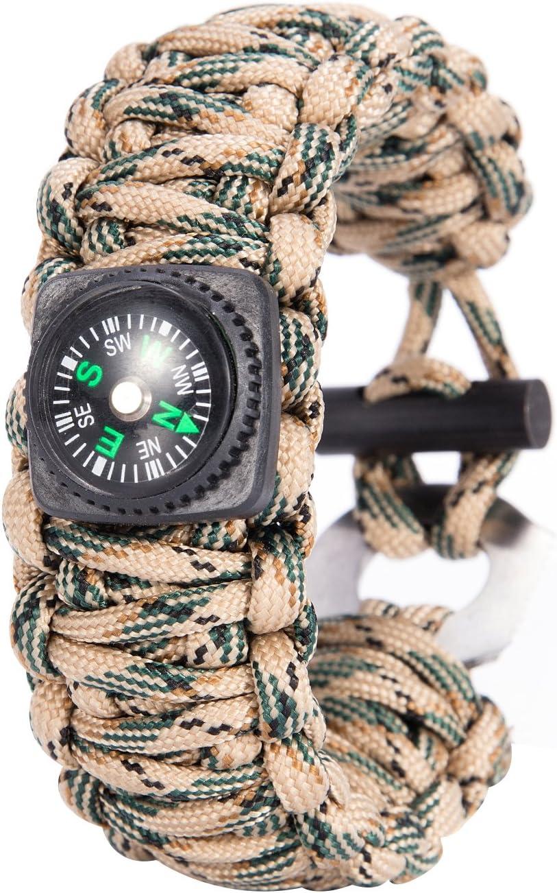 Ganzoo Bracelet de survie /à usage universel en paracorde 550 antid/échirure avec fermeture /à vis en m/étal inoxydable Ne convient pas pour lescalade Rouge//noir Longueur totale 3,6 m