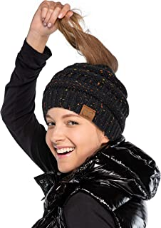 Hatsandscarf CC Exclusives Ribbed Confetti Knit Beanie Tail Hat for Adult (MB-33) (Black)