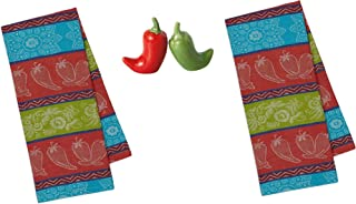 Design Imports Gift Bundle of Chili Pepper Salt Pepper Shakers and Kitchen Towels