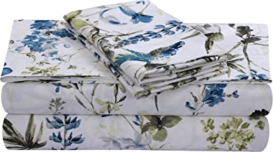 Tribeca Living AMAL4PSSFUBL Extra Deep Pocket Sheet Set, Full, Amalfi Blue/Multi