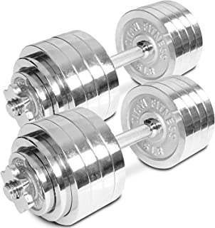 TITAN FITNESS Pair of Adjustable Chrome Dumbbells Weight 105 lb Total Weight