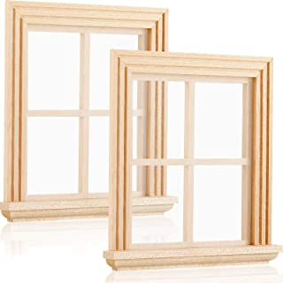 Small Simulation Wooden Window for 1:12 Dollhouse Playing Dollhouse DIY Accessory Paintable DIY Wooden Window Mini Dollhouse Window