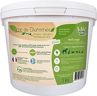 l'herbe Haute ® Terre de Diatomée Blanche Alimentaire - 5 kg Seau - Utilisable en Agriculture Biologique - Origine Naturel...