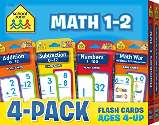 School Zone - Math 1-2 Flash Card 4-Pack - Ages 4 and Up, Addition, Subtraction, Numbers 1-100, and More (Flash Card 4-pk)