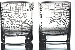 Greenline Goods Whiskey Glasses - 10 Oz Tumbler Gift Set for New Orleans lovers, Etched with New Orleans Map | Old Fashioned Rocks Glass - Set of 2