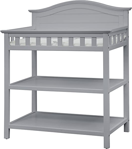Thomasville Kids Southern Dunes Changing Table Pebble Gray Changing Table With Water Resistant Changing Pad Safety Strap Two Storage Shelves For Infants Toddlers