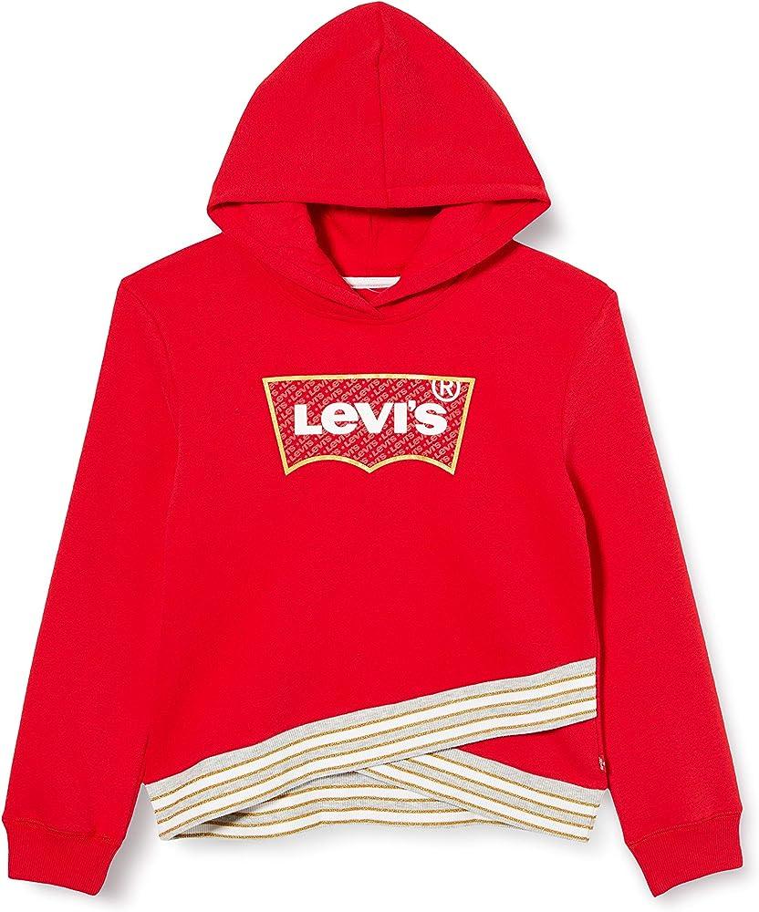 Levi`s,kids lvg cross over hoodie,felpa per bambina, ragazza,con elastico intreccio,60% cotone 40% poliestere EB940