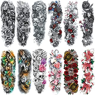"""Full Arm Temporary Tattoo For Man Women L19""""xW7""""(12 Sheets)"""
