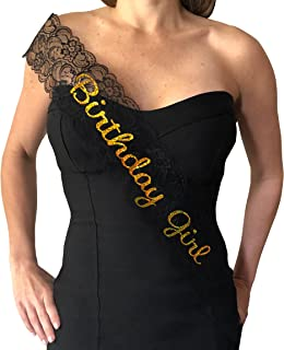 Birthday Girl Sash - Elegant Lace Sash for the Birthday Girl (Black & Gold)