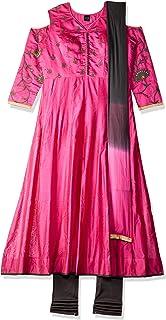 SOCH Women's cotton anarkali Salwar Suit Set (NC CD 1595-DK PINK-GREY_Dk Large)