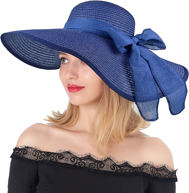 Women's Big Bowknot Straw Hat Floppy Foldable Roll up Beach Cap Sun Hat UPF 50+ Travel Packable Summer Hats