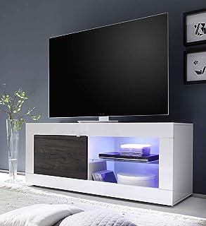LC Basic Base TV pequeña, Madera, Color Blanco Brillante/wengué, 140x 56x 43cm