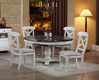 Sunset Trading Andrews Dining Table Set, Antique white with distressed chestnut top